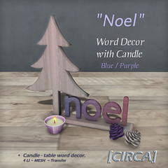 "[CIRCA] - ""Noel"" - Word Decor with Candle - Blue Purple"