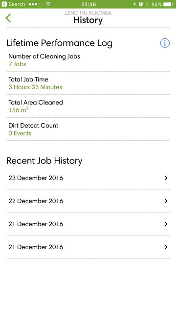 iRobot iOS App - Cleaning History