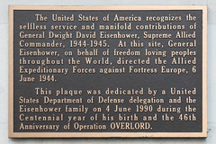 Photo of Dwight D. Eisenhower and Operation Overlord brown plaque