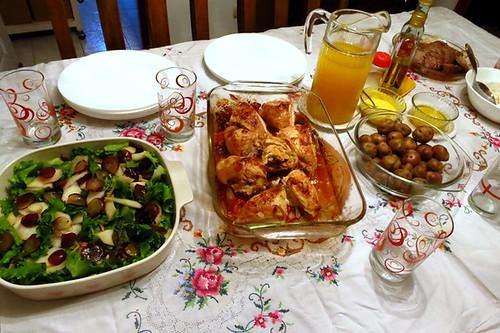 Salad, chicken, potatoes, beef, rice