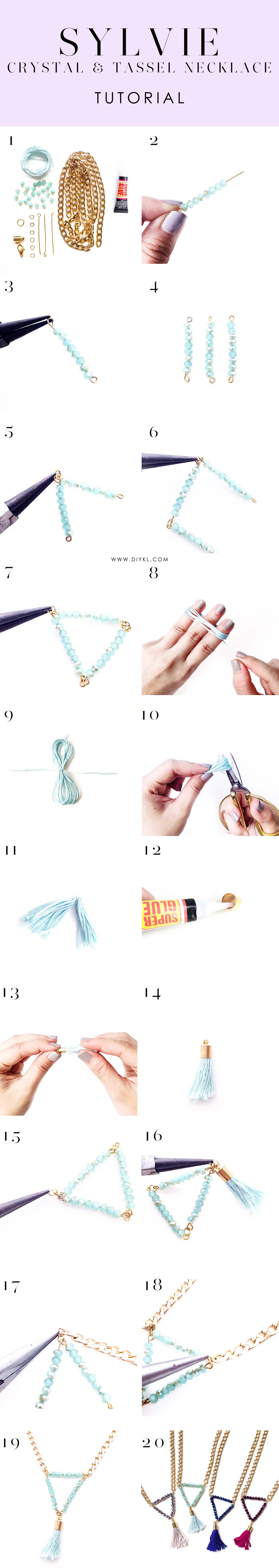 diykl sylvie crystal tassel necklace