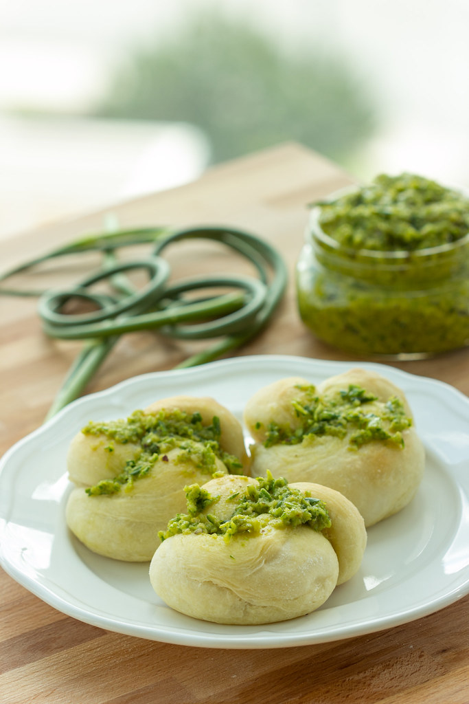 Vegan Garlic Scape Pesto Knots