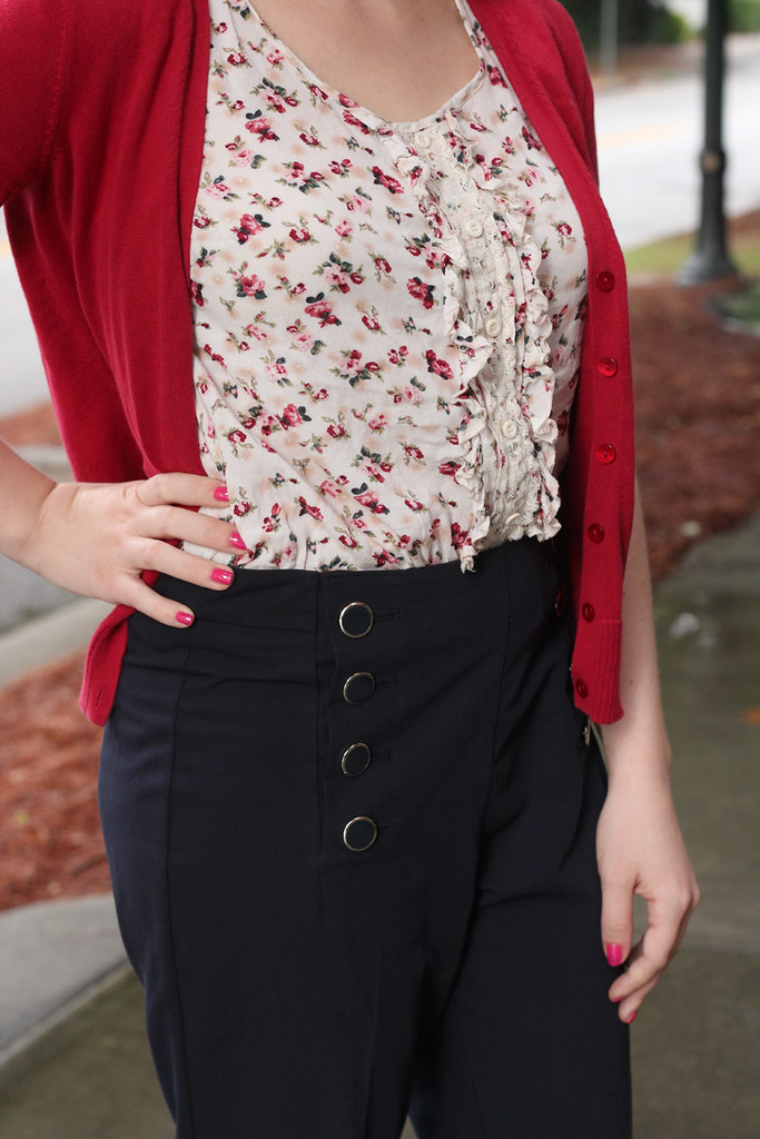 Floral Print Blouse, Red Cardigan, and Sailor Button Pants