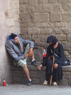 "Smoke break for the ""headless man"" and ""crone in black"" 2 - Barcelona"