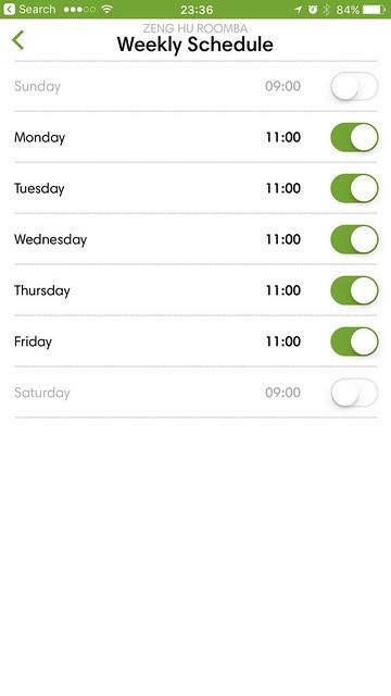 iRobot iOS App - Schedule