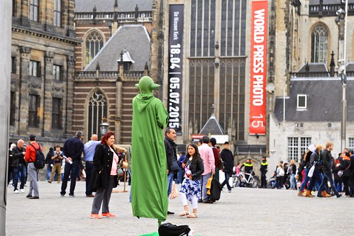 Floating Yoda in Dam Square, Amsterdam