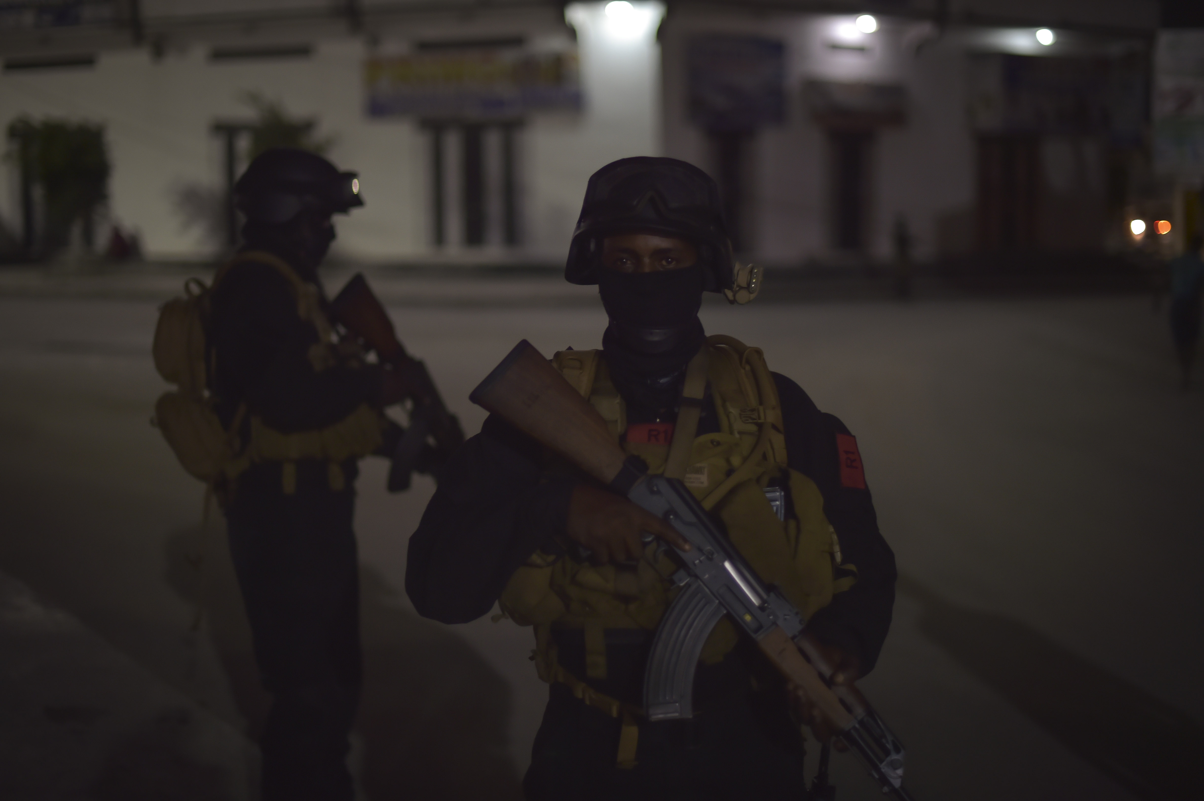 Somali National Army special forces members patrolling in the streets of Mogadishu