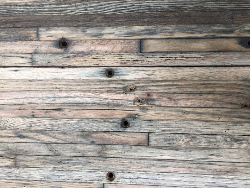 Reclaimed oak flooring from a semi