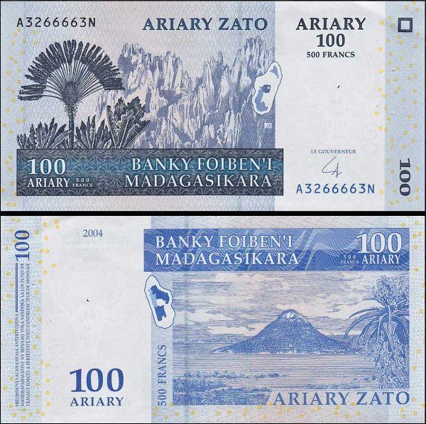 100 Ariary = 500 Frankov Madagaskar 2008, Pick 86b