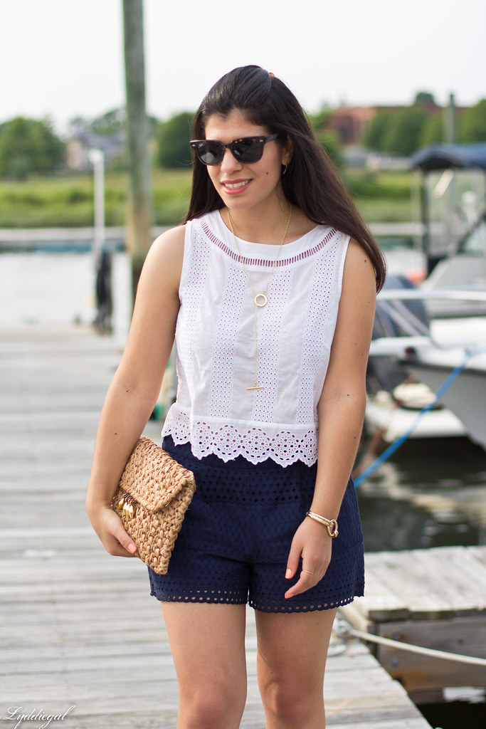eyelet lace crop top and shorts, straw bag, white sandals-9.jpg