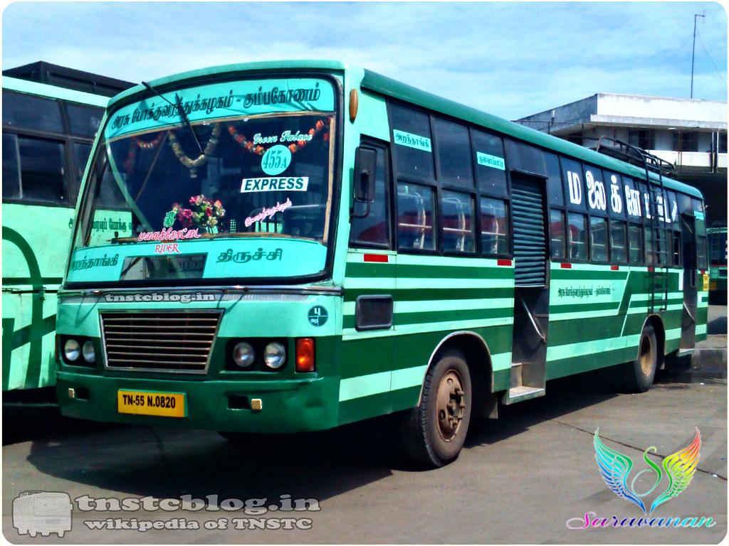 TN-55N-0820 of Aranthangi Depot Route 455A Aranthangi - Trichy via Alangudi, Kulavaipatti, Keeranur.