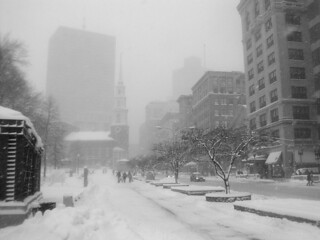 Tremont Street and the Boston Common in a blizzard