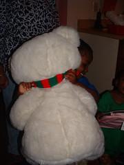snowman(0.0), teddy bear(1.0), textile(1.0), fur(1.0), plush(1.0), stuffed toy(1.0), toy(1.0),