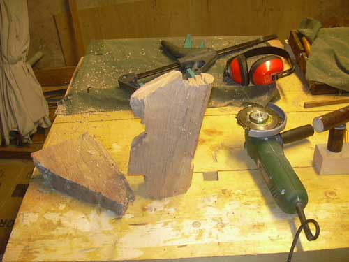Carving stage bit of beech roughed out with a chainsaw