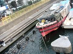 Boat under Tsukishima bridge