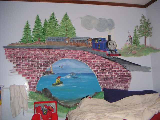 thomas the train wall mural flickr photo sharing. Black Bedroom Furniture Sets. Home Design Ideas