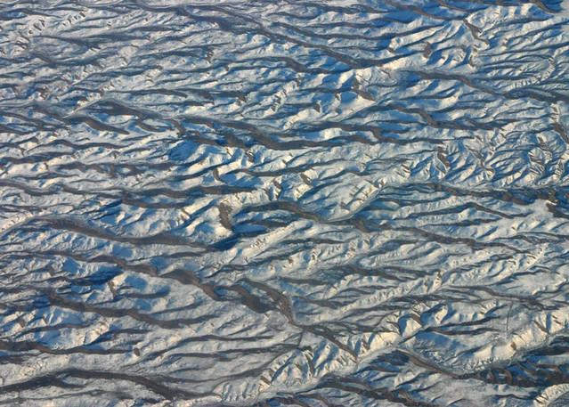 Wrinkled landscape in snow