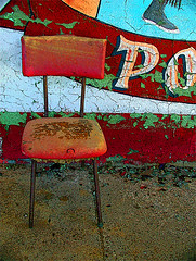 red chair waiting, dreams of yesterday