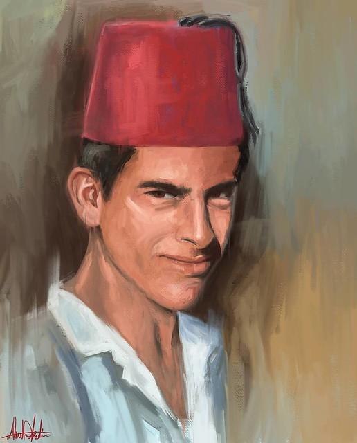 Arab man wearing traditional #fez #tarboosh 🎨 Check the full size on ahmadkadi.com #Portrait #painting #Drawing #arab #man #Sketching #wacom #original #art #illustration #draw #artist #sketch #sketchbook #Pencil #pen #instaart #gallery #creative #inst