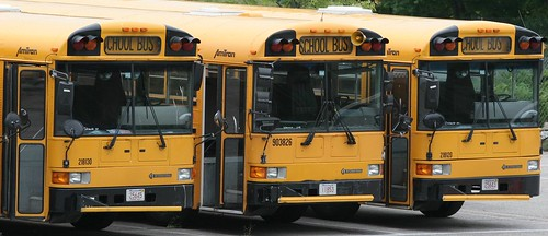 "School buses in neighborhood - courtesy of Alex Starr ""Twix"" on flickr"