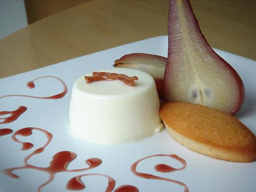 Poached Pear With Creme Fraiche Panna Cotta