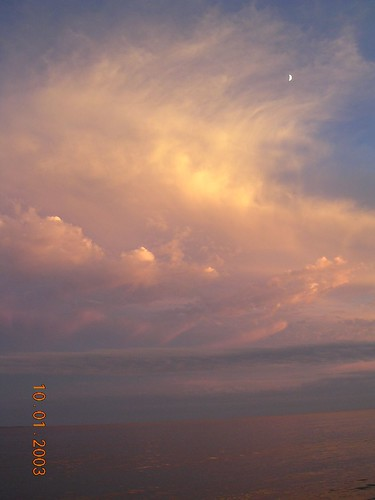 sunset moon beach clouds roadtrip gulfcoast