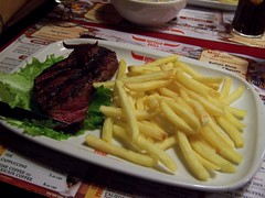 meal, lunch, steak, restaurant, meat, steak frites, french fries, food, dish, cuisine, fast food,