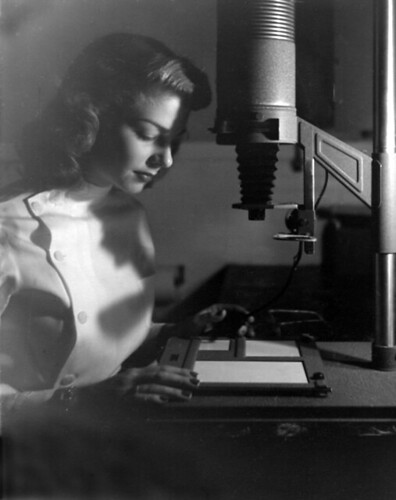Mom at the enlarger, 1949