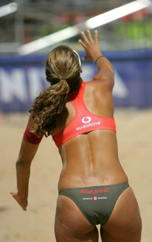 Women's beach volleyball on St Kilda beach in Australia