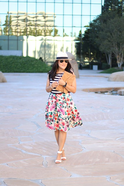 simplyxclassic, stripes and florals, floral dress, fashion blogger, mommy blogger, nordstrom, cork clutch, white sandals, asos, jcrew panama hat, blogger, orange county