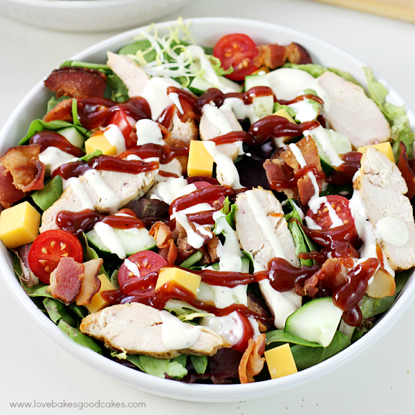 BBQ Chicken Bacon Ranch Salad in a bowl.