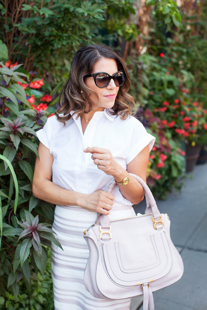 what to wear to work pink stripes pink chloe marcie prada sunglasses white pull over shirt work ideas for the summer how to make stripes work for my body midi skirt pink and white stripes fashion blogger corporate blogger professional blogger corporate catwalk