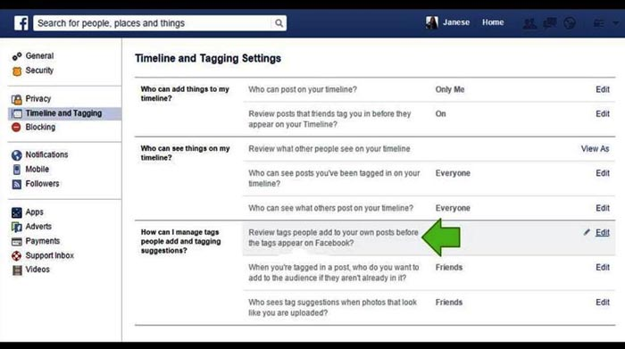 Enable Facebook Photo Tagging review step 3
