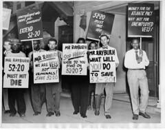 Vets picket Speaker Rayburn's home: 1949