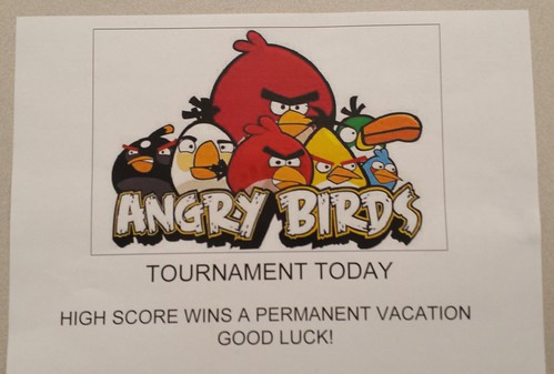 Angry Birds tournament today. High score wins a permanent vacation. Good luck!