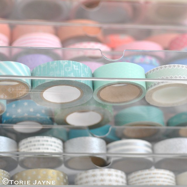 Washi tape in acrylic drawers