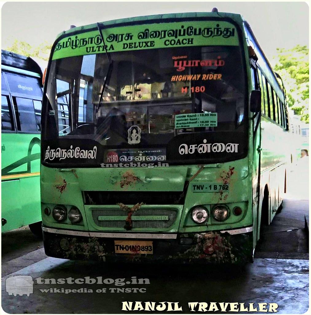 TN-01N-9893 TNV-1 B762 of TNV -1 Depot Route H180 Tirunelveli Chennai via Madurai.
