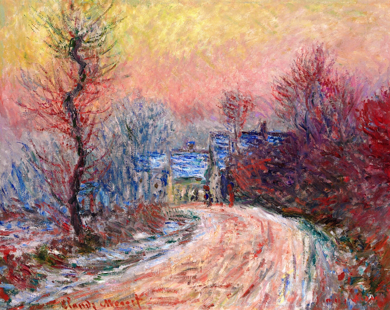 Coming into Giverny in Winter, Sunset by Claude Oscar Monet - 1885