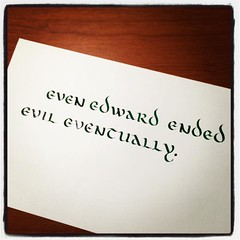 Nice to break out the old #uncial style for a bit. #handwrittenABC #calligraphy #practice #evil