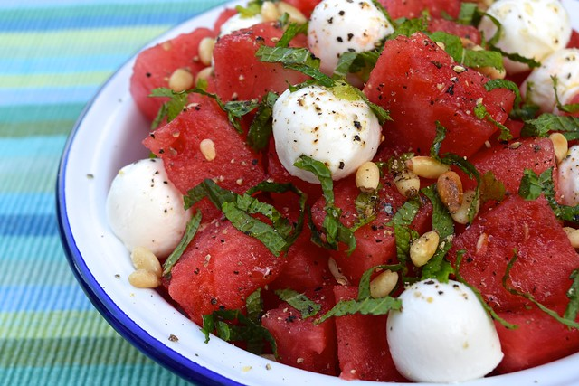 Watermelon & Mozzarella Salad with Mint & Toasted Pine Nuts