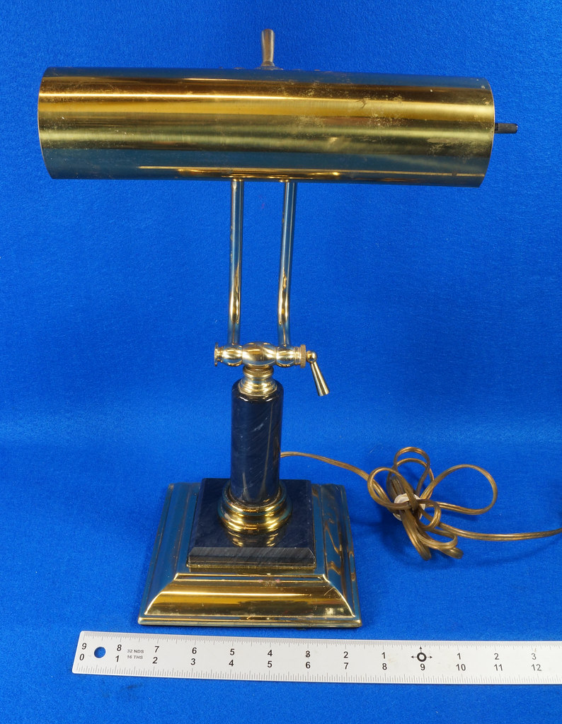 RD15125 Vintage Brass & Marble Bankers Desk Piano Portable Lamp Light Adjustable Arm with Bulb DSC08279
