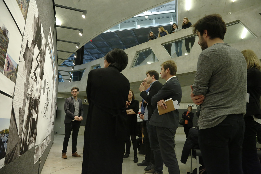 B.Arch. thesis candidate Jose Ibarra presenting his project titled <em>Objet Petit A</em> in Milstein dome.