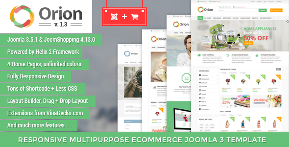 Orion v1.3 - Businesses & e-Commerce Joomla Template