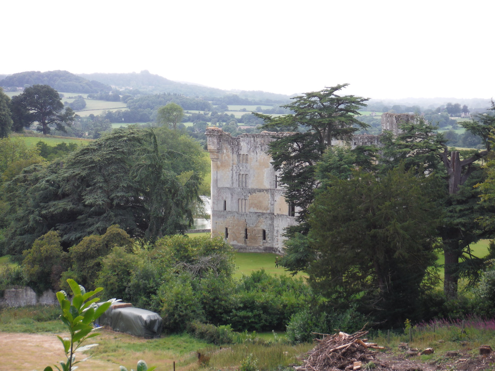 Old Wardour Castle from up in The Hanging SWC Walk 252 Tisbury Circular via Donhead St. Andrew