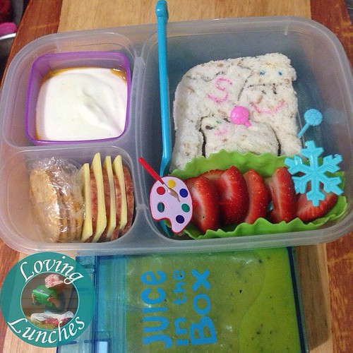 Loving Miss Ms lunch from the other day… I told her a story to help her remember all the things she did on holidays and ended up making it into a lunch 😊 A cow named Sue (name changed to protect the innocent 😉) played soccer on ice skates at da
