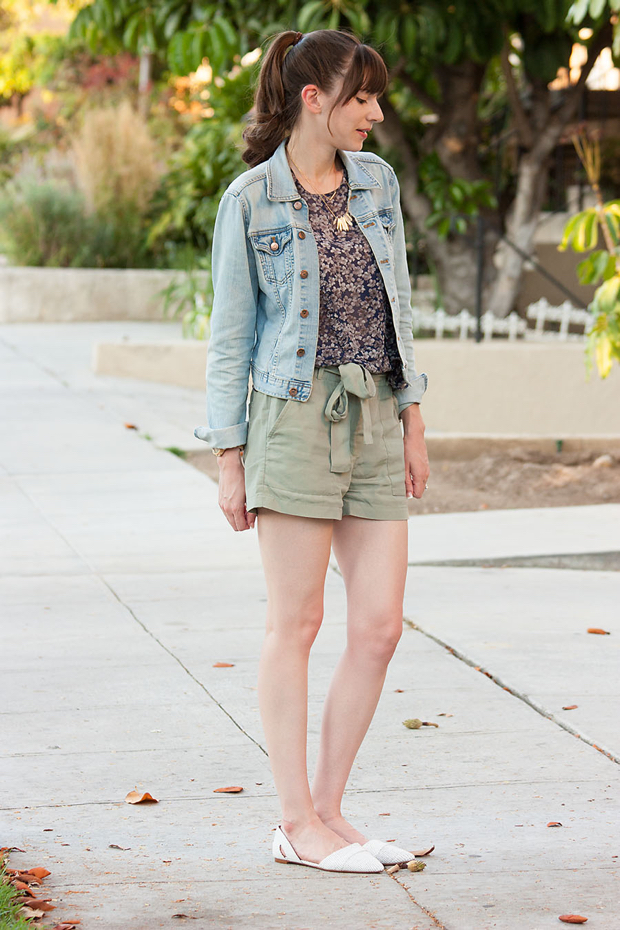 Silk Floral Blouse, Gap Tie Shorts, Madewell Flats