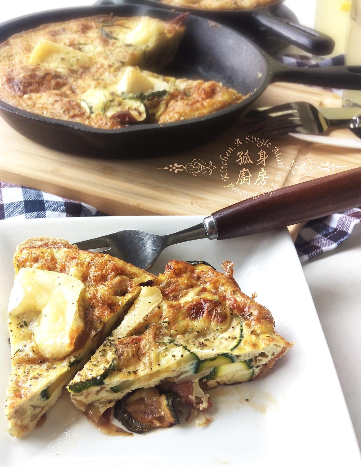 孤身廚房-清冰箱簡單早午餐!培根野菇櫛瓜義式烘蛋Frittata22
