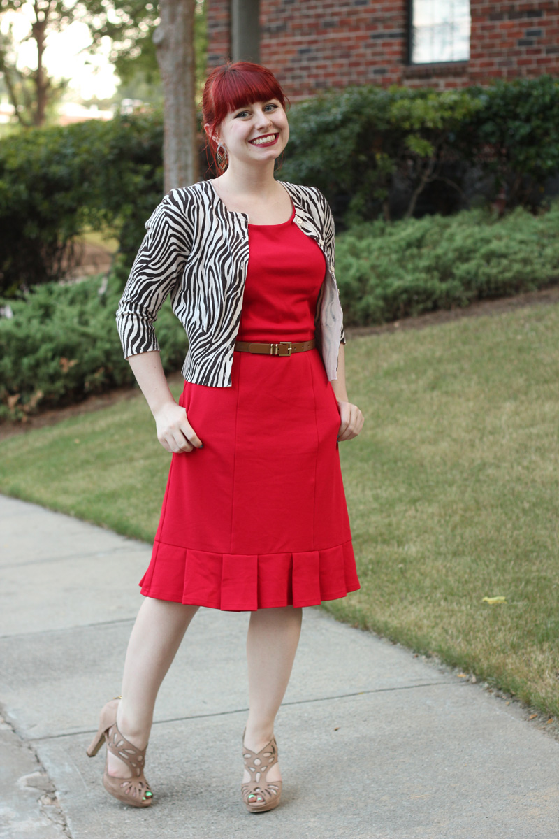My Byline of Work Red Sheath Dress from Modcloth, Zebra Print Cardigan, and Tan Peeptoe Heels