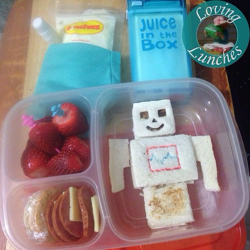 Loving a @cutezcute robot in our @easylunchboxes for Miss M tomorrow… with strawberries, crackers, pepperoni & cheese; yoghurt in our @sinchies and milk in our @boardwalkimports #juiceinthebox