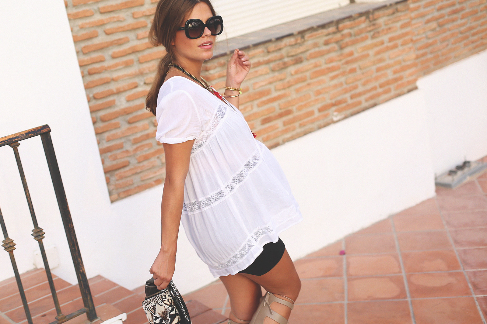 6. white loose top black tube skirt gladiator sandals - jessie chanes - pregnancy